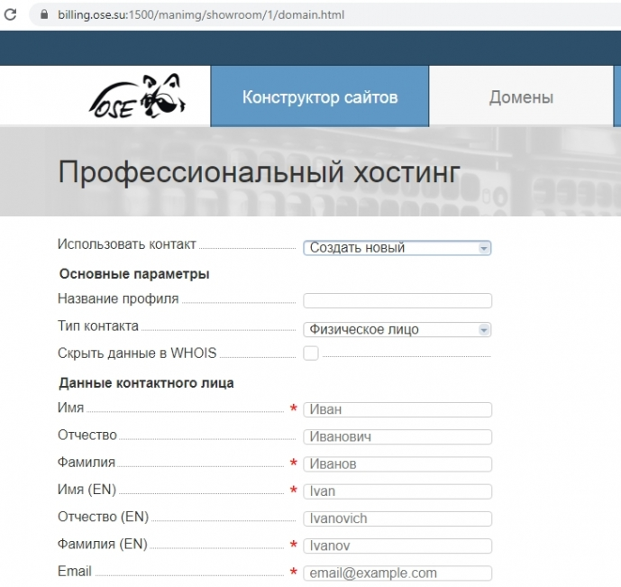 заполняем анкету для оплаты домена в биллинге ose.su